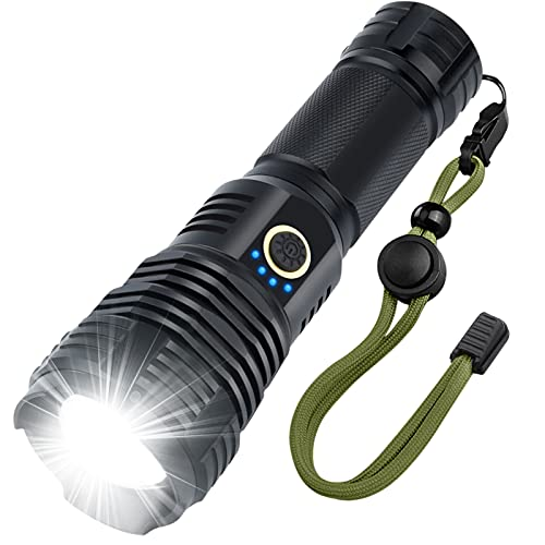LED Rechargeable Flashlights High Lumens, 90000 Lumens Super Brgiht Tactical Flashlights,Flash Light Powered 26650 Battery & XHP70.2 , Zoomable & Waterproof Flashlights for Emergencies, Camping