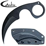 Canku C1890 Hunting Fixed Blade Tactical Knives D2 Blade K Sheath, Stainless Steel Handle Karambit Claw Knife Outdoor Hunting, Survival and EDC Tools (Black)