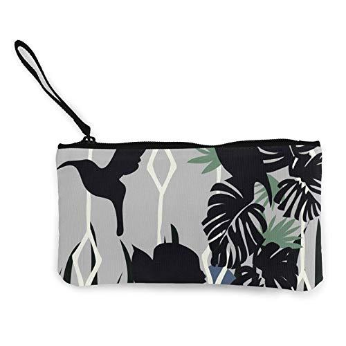 Moneda de lona, bolso de árbol de plátano palam con cremallera, bolsa de cosméticos de viaje multifunción, bolsa de maquillaje para teléfono móvil, paquete de lápices con asa