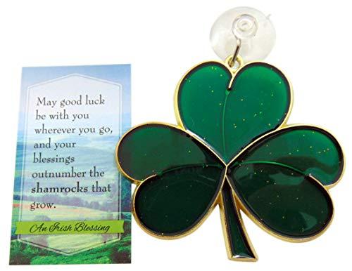 Westmon Works Shamrock Suncatcher Gift Set Irish Blessing Prayer Card and Irish Sun Catcher