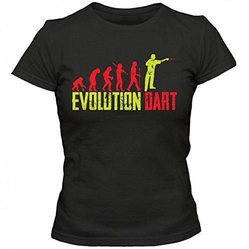 Dart Evolution #1 T-Shirt | Dartkönig | Pfeil | Dartworld | Frauen | Shirt, Farbe:Schwarz (Deep Black L191);Größe:L