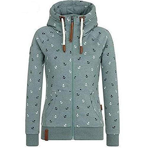 Newbestyle Jacke Damen Sweatjacke Hoodie Sweatshirt Oberteile Damen Pullover Kapuzenpullover Pulli mit Reissverschluss (Grün, M)