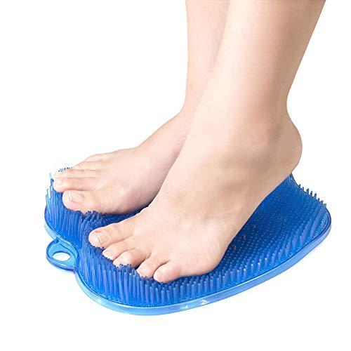 ZXCV Duschbad Fußmassagegerät Scrubber Cleaner Brush Pad Zehenreinigungsmatte mit rutschfesten Saugnäpfen,Blau