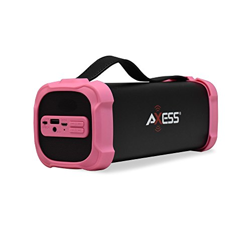 Bluetooth Speaker with USB, Built-In 3.5mm Line-In Jack Rechargeable Battery and Subwoofer Pink. Axess SPBT1073 Portable Indoor/Outdoor Bluetooth Speaker