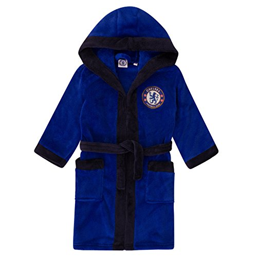 Chelsea FC Official Soccer Gift Boys Fleece Dressing Gown Robe Royal 5-6 Years