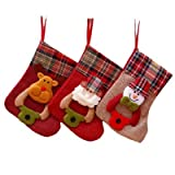 3 Pack Personalized Christmas Stockings 2020 New Medium Size Hanging Ornament Stockings Gifts & Decorations for Family Holiday Xmas Party, Cute Christmas Stocking Classic Stocking Decorations 8.3 Inch