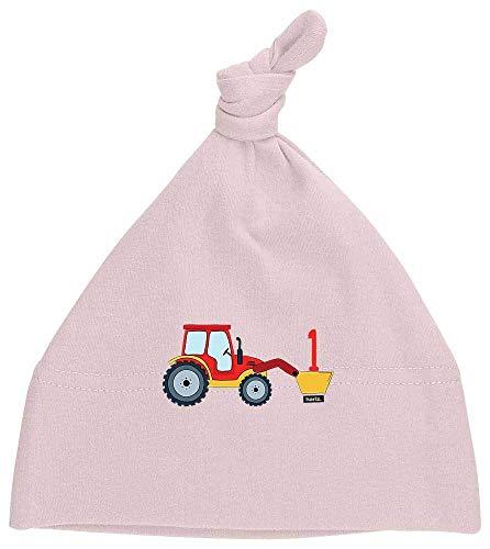 Hariz - Gorro para bebé con diseño de tractor y número 1, ideal como regalo de cumpleaños Algodón de azúcar rosa.