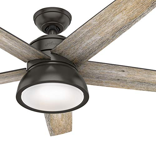 Hunter Fan 52 inch Contemporary Noble Bronze Indoor Ceiling Fan with Light Kit and Remote Control (Renewed)