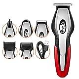 ZCFXGHH 11 en 1 Hair Clippers recortador de precisión para Patillas/Cabello/Nariz/oído/Cuerpo, Kit de Aseo múltiples máquinas de Afeitar eléctricas a Prueba de Agua USB inalámbrico,Rojo