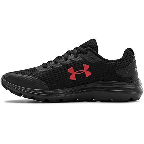 Under Armour unisex child Grade School Surge 2 Sneaker, Black (005 Black, 4 Big Kid US
