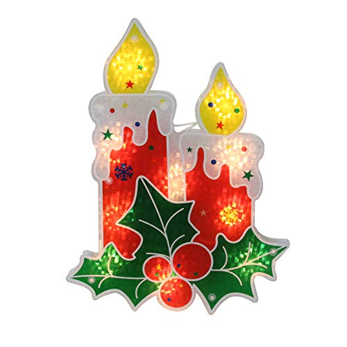 "Northlight 12"" Red Lighted Berry Candle Christmas Window Silhouette Decoration"