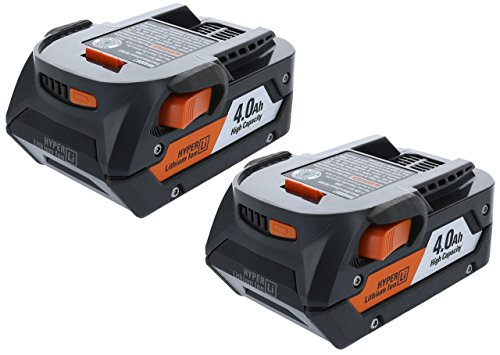 Ridgid AC840087P 18 Volt 4 Amp Hour Lithium-Ion Battery w/ Onboard Fuel Gauge (2-Pack of R840087 Battery) (Renewed)