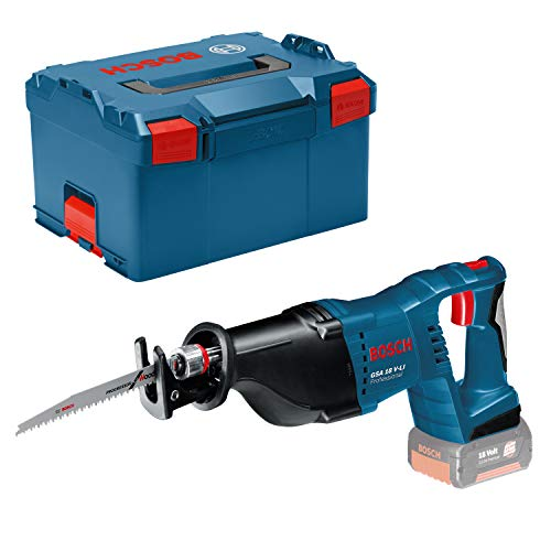 Bosch Professional 060164J007 System GSA 18 V-LI Cordless Reciprocating Saw (28 mm Stroke Length, Excluding Rechargeable Batteries and Charger, in L-BoxX), Navy Blue, Bare Tool