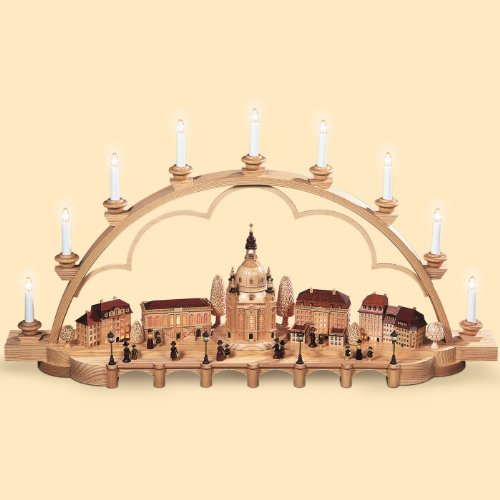 Müller German candle arch old city of Dresden, length 103 cm / 41 inch, natural, electrically illuminated (230V, 50Hz), limited Edition, original Erzgebirge by Mueller Seiffen