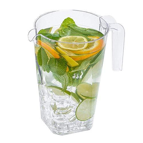 Confezione da 5 caraffe in plastica per feste, 1200 ml, resistenti, usa e getta, riutilizzabili, 1,2 litri, trasparenti