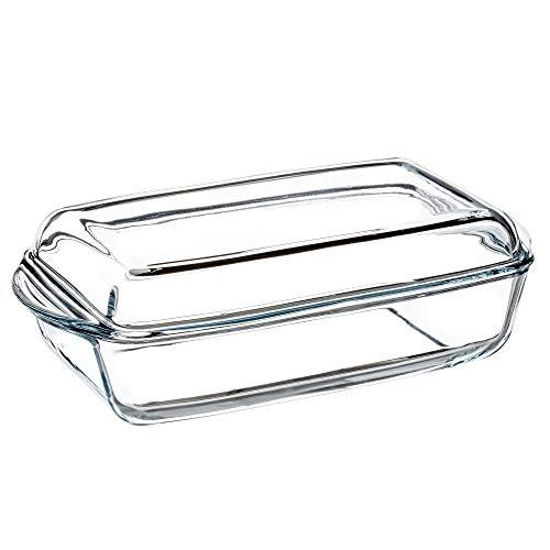 KADAX Auflaufform aus hitzebeständigem Glas, feuerfestes Gefäß, Glasbräter mit Deckel und Griffe, Geschirr zum Braten, Backofen, Elektroherd, für Lasagne, Fleisch, transparent (rechtseckig, 3.95L)