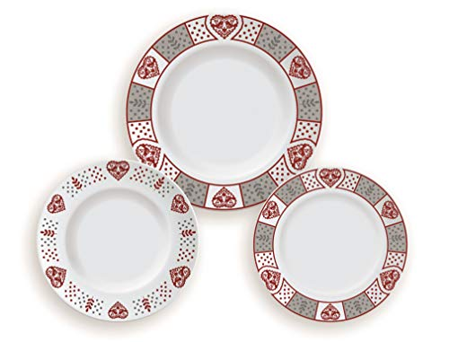 Excelsa Tirol Servizio Tavola, Porcellana, Bianco con Decorazioni, 27x27x2 cm, 18 unità