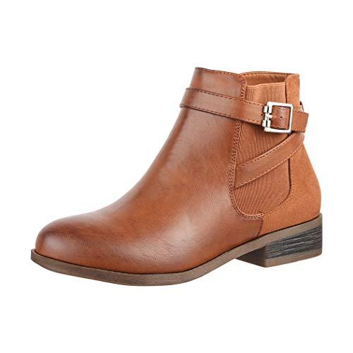 Elara Damen Stiefelette Chelsea Ankle Boots Chunkyrayan C298-Camel-40