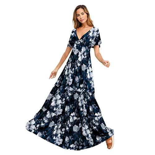 Lowest Price! Women Empire Waist Maxi Dress - Ladies Casual Loose V Neck Short Sleeve Ruffle Hem Dre...