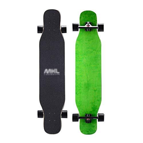 Skateboard Longboard Skateboard Vier Runden Professionelle Erwachsene Jugend Tanzbrett Jungen Und Mädchen Ahorn Holz Flecken Anfänger Protokolle Grün (Color : Green)
