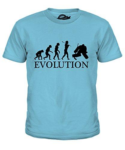 Candymix Eishockey Torwart Torhüter Evolution des Menschen Unisex Jungen Mädchen T Shirt, Größe 12 Jahre, Farbe Himmelblau