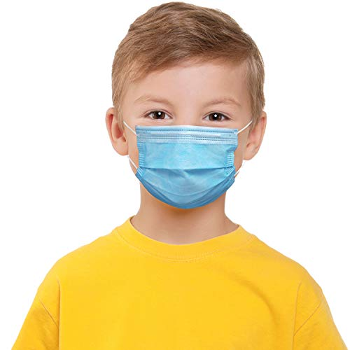 50 Pack Blue Disposable Kids Face Mask Breathable 3-Ply Anti-Dust/Saliva/Smog For Children Boys and Girls