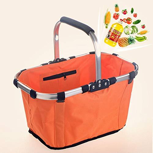 B/H Aufbewahren Verstauen,Faltbarer Einkaufskorb Isolierkorb Picknickkorb Handkorb-Orange,Design Aufbewahrungskorb