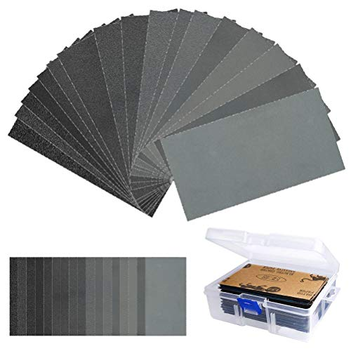 TIMESETL 108Stück Schleifpapier Set, Körnung 60 bis 3000 Nass und Trocken, 7,6 x 14cm Schleifpapier Sortiment mit Box, zum Schleifen in der Automobilindustrie für Holz, Holzmöbel, Lack, Metall, Glas