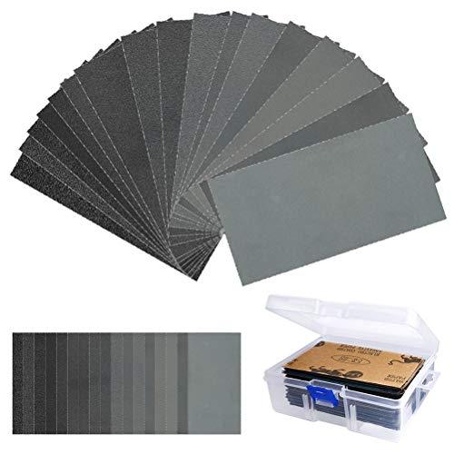 108 Stück Schleifpapier Set zum Schleifen Schleifpapier Trocken und Nass Körnung 60 bis 3000, 7,6 x 14cm schwarz