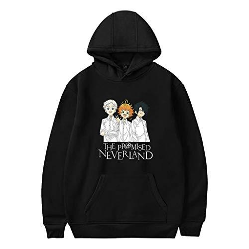 KIACIYA Felpa The Promised Neverland, 3D Emma Norman Ray Anime Cosplay Felpa con Cappuccio con Pocket Pullover Felpa Maglione Autunno Inverno Casuale a Manica Lunga Streetwear per Donna Uomo (9BA,S)