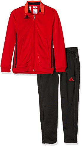 adidas Jungen Präsentationsanzug Condivo 16 PES Trainingsanzug, Top: Scarlet/Black Bottom: Black/Black, 164