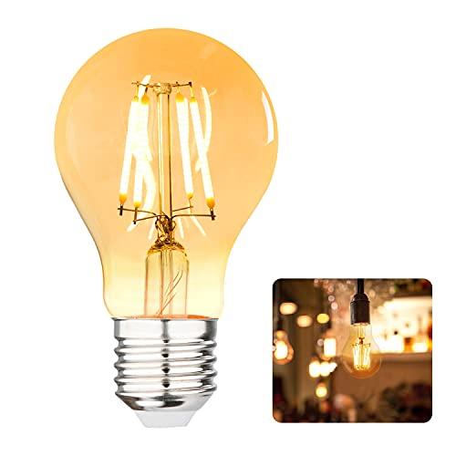 Gohytal - Bombilla Edison E27, bombilla LED vintage de 4 W, estilo retro, filamento, 220 V, luz blanca cálida antigua, lámpara decorativa, estilo retro, ideal para casa, cafetería, bar, 1 unidad