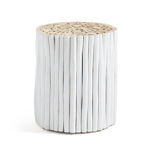 Kave Home - Table d'appoint Filip Blanche Ronde Ø 35 cm en Bois Massif en Teck