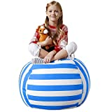 Aubliss Stuffed Animal Bean Bag Storage Chair, Beanbag Covers Only for Organizing Plush Toys, Turns into Bean Bag Seat for Kids When Filled, Premium Cotton Canvas, 32' Large Blue/White Striped