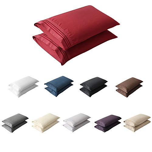 MRampHM Standard/Queen Pillowcase Set of 2 Brushed Microfiber Pillow Case 600 Thread Count Hypoallergenic Soft and Cozy Wrinkle Free20quotx30quot Burgundy