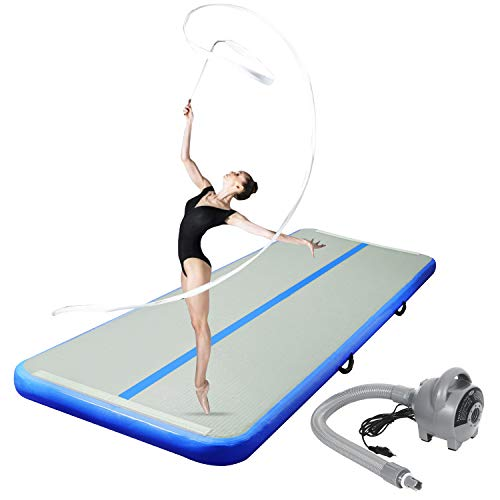 CHAMPIONPLUS 10ft 13ft 16ft 20ft Tumble Track Tumbling Mat Inflatable Gymnastics Air Mat 4/8 inches Thickness for Home Training Cheerleading Yoga with Electric Air Pump Blue 10#039x33#039x4#039#039