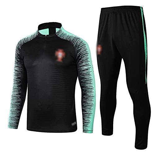 Chándal para hombre de adulto de fútbol de manga larga Jersey Top Suit Unisex Sportswear Uniforme, Negro, S