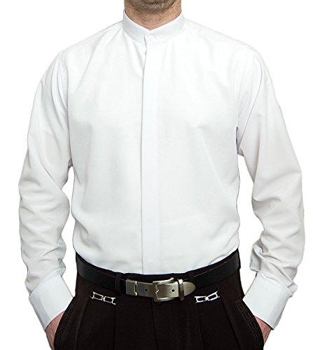 Pierre Martin Designer Herren Stehkragen Hemd Hochzeit Business verdeckte Knopfleiste S9 Langarm Weiß Gr. XXL 45-46