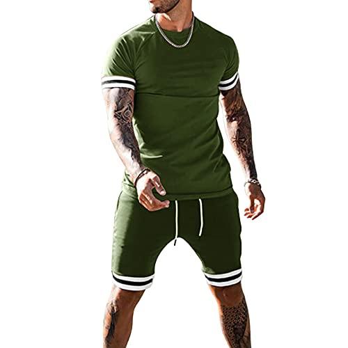 Traje deportivo de 2 piezas para hombre, color sólido, cuello redondo, manga corta, camiseta + pantalones cortos con cordón