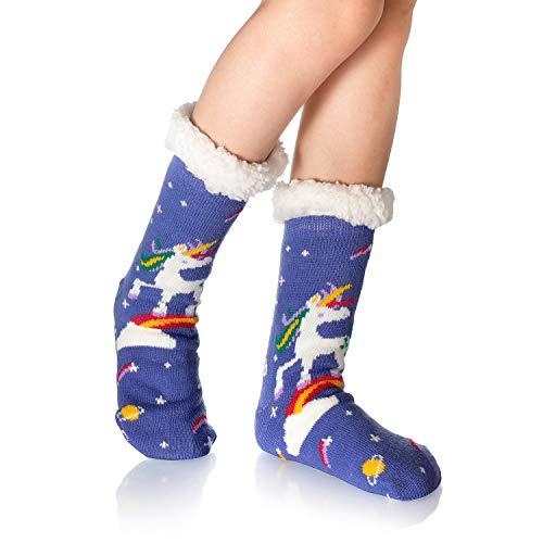 Calcetines WYTartist para mujer, súper suaves y cálidos, con forro polar, a rayas, lindos animales, calcetines de invierno para mujeres y niñas Unicornio arcoíris. Talla única