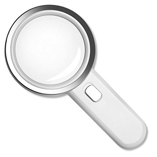 Fancii 5 Fach Vergrößerungsglas LED Handlupe mit Licht, große 90mm verzerrungsfreier beleuchtet Lupe mit Glas Objektiv