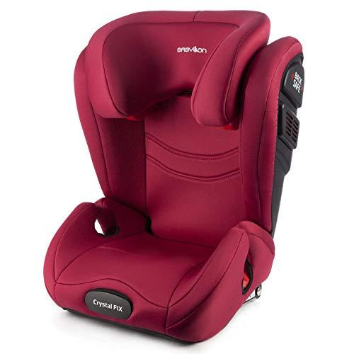 BABYLON isofix universal para coche Crystal Fix silla coche grupo 2/3, silla bebe coche para Niños 15-36 kg (3 a 12 años). silla coche bebe ECE R44 / 04 Marsala Rojo