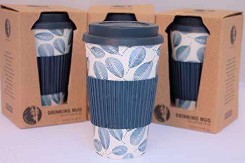 Tesson Vaso café de Bambú con Tapa. Vaso Bambu ecológico con Tapa y Agarre de Silicona. Reutilizable 425ml (Hojas)