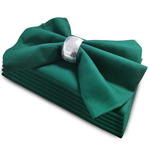Getfitsoo Green Cloth Napkins Set of 6, 100% Cotton Christmas Cloth Napkins Washable Reusable, Perfect as Thanksgiving Cloth Napkins/Holiday Cloth Napkins for DinnerTable Everyday Use (Dark Green)