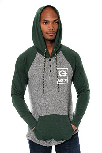 Ultra Game NFL Green Bay Packers Mens Fleece Hoodie Pullover Sweatshirt Henley, Team Color, Large