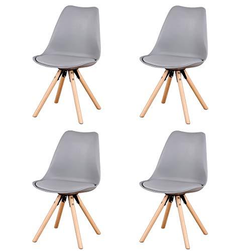 Herbalady 4/6 un conjunto de sillas de estilo nórdico de moda, tapizadas + patas de madera natural, utilizado en varias ocasiones, multicolor opcional (gris, 4)