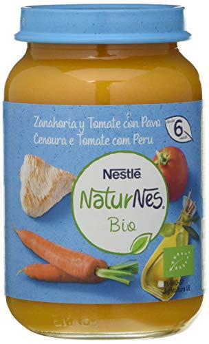 Nestlé Naturnes Bio Puré Zanahoria, Tomate Y Pavo Tarrito ParaBebésDesde 6 Meses - Pack de 12 tarritos 190g