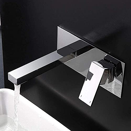 Conveniente grifo de lavabo oculto frío y caliente totalmente de cobre con grifo de una manija con caja preinstalada Lavabo de encimera en la pared, adecuado para balcón de baño de cocina, tamaño 22 *