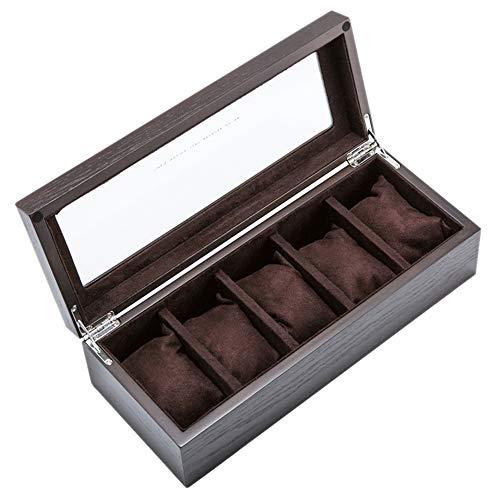 Watch storage box Hölzerne Luxusuhr-Schachtel mit abnehmbaren kleinen Kissen und Aufbewahrungsbox für Dachfenster-Schmuck - 11,8 × 4,7 × 3,3 Zoll