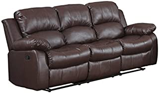 DIVANO ROMA FURNITURE Bonded Leather Double Recliner Sofa Living Room Reclining Couch (Brown)
